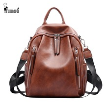 FUNMARDI Vintage Travel Backpack Multifunction Women Backpack PU Leather Shoulder Bag High Quality Girl School Backpack WLHB2063