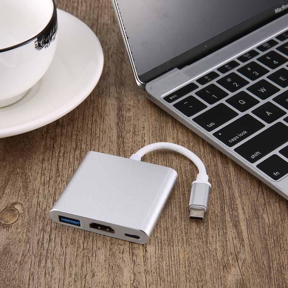3 в 1 зарядный адаптер конвертер концентратор USB 3,1 Type C к USB 3,0 + HDMI + Type C адаптер тройной экранированный