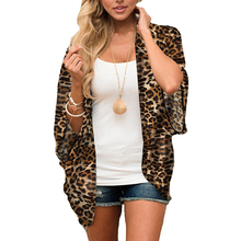 2020 Summer Beach Women's Chiffon Cardigans Casual Leopard Print Plus Size Long Shirts Blusas Female Open Stitch Loose Thin Tops fashion 11 color female chiffon shirts women summer casual top plus size s 5xl loose long sleeve thin and light chiffon blouse