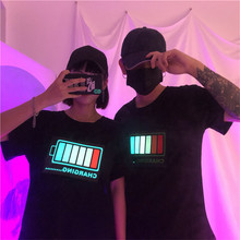 Zomer Koppels Grappige Gedrukte T-shirt Liefhebbers 3D Party Disco Dj Sound Activated Led Light Up En Down Flashing Gloeiende t-shirt(China)