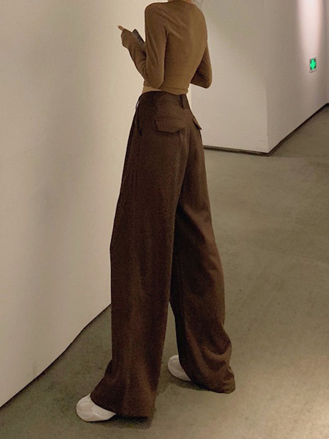 2021 Retro de Color sólido salvaje recto ancho pierna Pantalones mujer primavera nueva moda Coreana de cintura alta pantalones largos 2