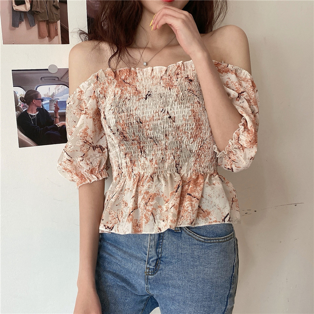 Vintage Blouse Women Summer Square Collar Puff Sleeve ruffles ladies crop Tops Plus Size Blouses Shirts camisas mujer 4