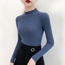 Women Half Turtleneck Sweater Slim Solid Sweaters 2019 Autumn Half-high Collar Knitwear Long Sleeve Slim Top Warm Pullovers 2019 half sleeve high low pullover knitwear