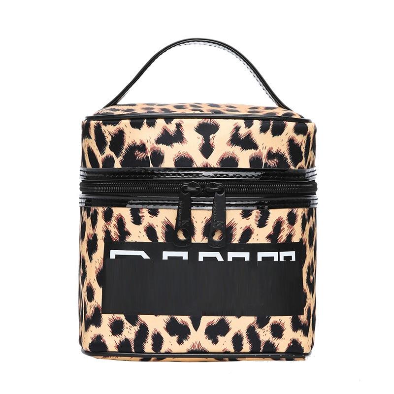Women Travel Cosmetic Bags Zipper Leopard Print Makeup Bags Organizer Beauty Toiletry Bag Bath Wash Make Up Kits Case