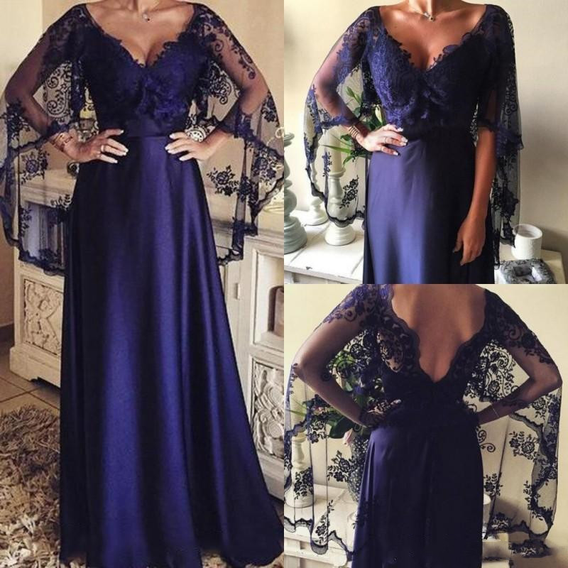 Dark Purple Lace Mother Of The Bride Dresses 2019 Vestido De Madrinha Sexy V Neck Formal Gown With Wraps Vintage Mother's Dress