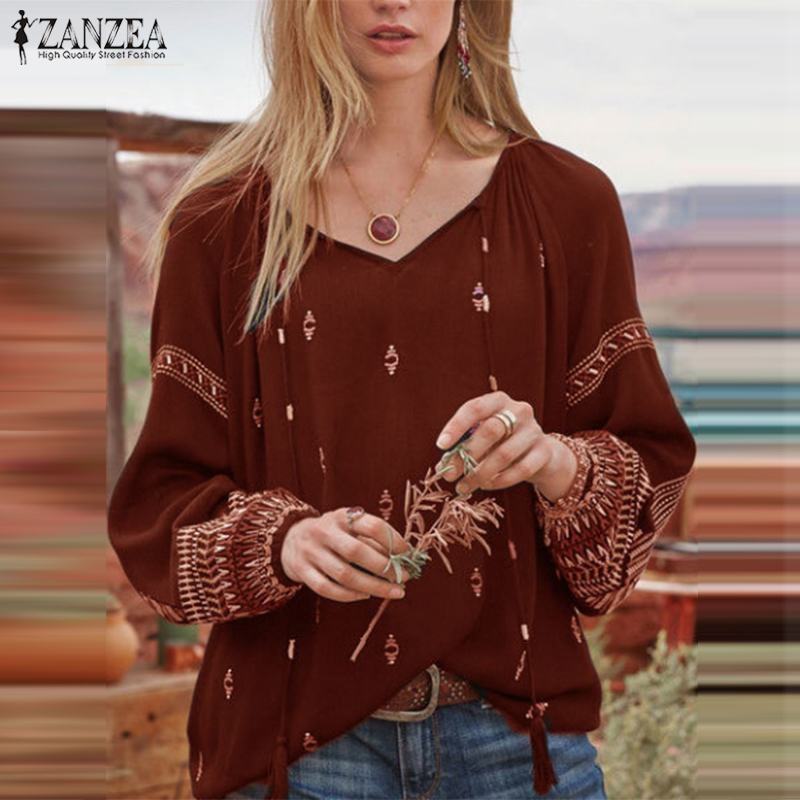 2019 Autumn Ethnic Printed Blouse ZANZEA Women Lace Up Tunic Tops Casual V Neck Long Sleeve Blusas Elegant Work Chic Shirt Femme