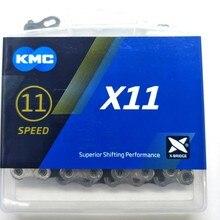 Kmc x11 x11.93 bicicleta corrente 118l 11 velocidade bicicleta corrente com caixa original e botão mágico para mountain/rod bicicleta peças