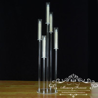 4PCS 41 Inch Tall Candelabra Crystal Candelabra Wedding Centerpieces Acrylic Clear Candle Holder Decorative 5 Arm Candle Holder