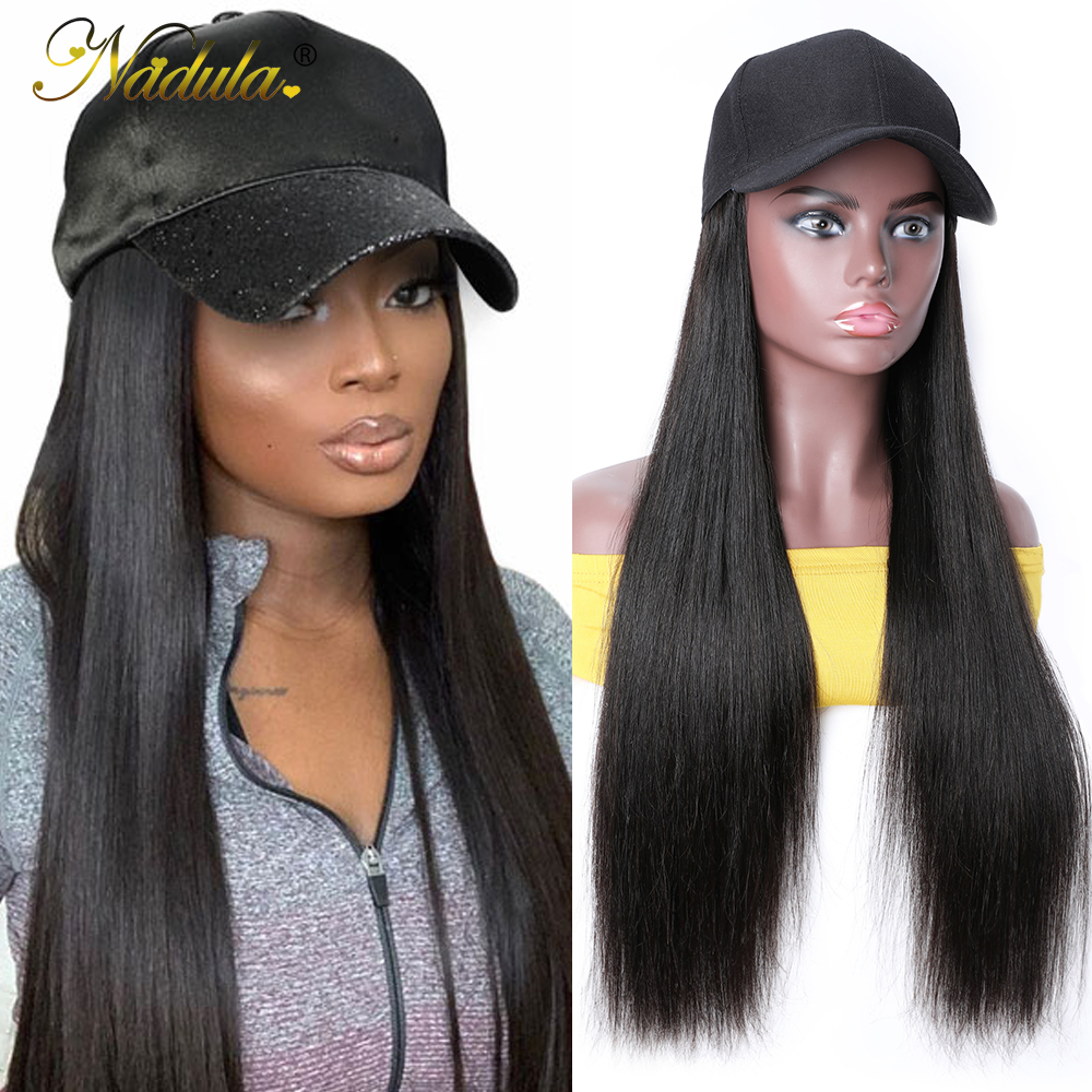 Nadula Straight Hat With Hair Wig  20inch Hat Wig Baseball Cap Wig Hat With Straight  Wigs 150% Density 1