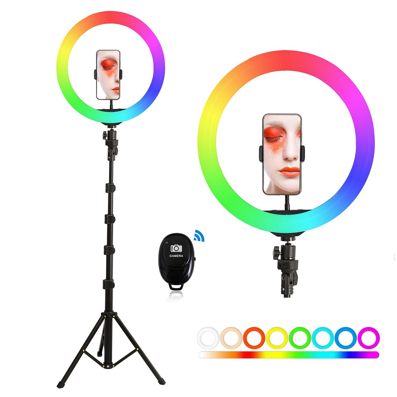 13 дюймов 33 см RGB светодиодные лампы селфи кольцо светильник с палка для селфи Штатив для фотографии кольцевая лампа для TikTok Youtube видео съемки