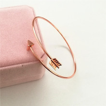 Women Bangle Jewelry Simple Cupids Arrow Metal Cuff Bracelets For Lady Rose Gold Silver Color Geometric romance Love Bangles