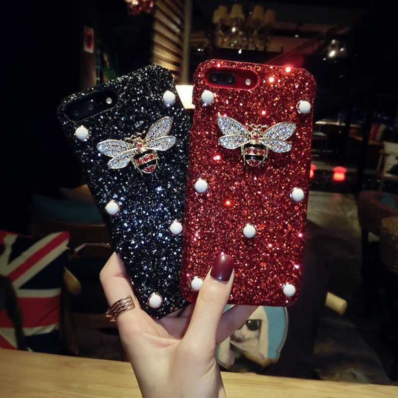Luxury Bling Glitter For iPhone 11 12 Pro X XR XS MAX 6 7 8 Plus Case Diamond Crystal Bee For Samsung S 10 Note 9 20 Ultra Cover