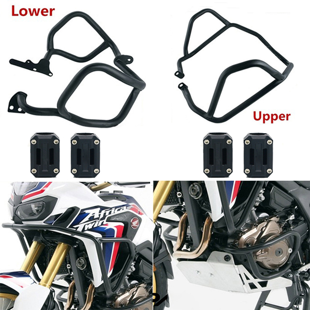 COPART Lower Crash Bar Highway Engine Guards Side Engine Protectors for Honda Africa Twin CRF1000L 2016 2017 2018,Silver