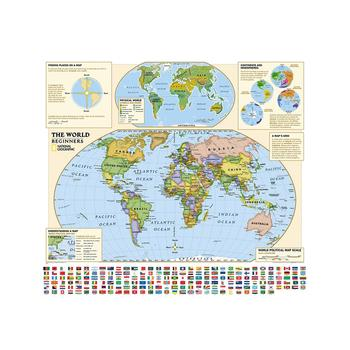 World Map With National Flag And Plate Distribution 90x90cm Non-woven Acrylic Inkjet Map No-fading