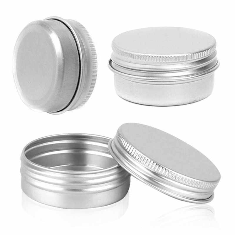 Refillable Containers Aluminum Empty Cosmetic Silver Box Screw Jar Portable Travel Tin Packing Box Makeup Cream Lip Balm Pots