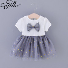 ZAFILLE 2020 Baby Girl Clothes Patchwork Bow Toddler Summer Dress Mesh Cute Girls Dress Short Sleeve Kids Clothes Girls Clothing fhadst new striped patchwork character girl dresses long sleeve cute mouse children clothing kids girls dress denim kids clothes