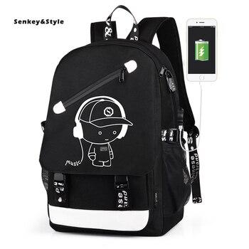 цена Senkey &Style Oxford Backpack Men's USB Large Capacity Waterproof Back Pack Travel Leisure Computer Student Bag Luminous Package онлайн в 2017 году