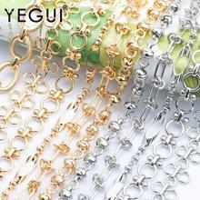 Yegui c145, corrente diy, ródio chapeado, 18k banhado a ouro, 0.3 mícrons, metal de cobre, encantos, diy pulseira colar, fazer jóias, 1 m/lote