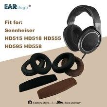 החלפת אוזן רפידות עבור Sennheiser HD 515 518 555 595 558 אוזניות חלקי עור כרית קטיפה Earmuff אוזניות שרוול כיסוי