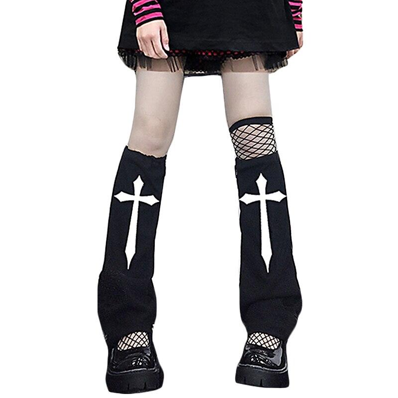 Lady Hipster Black White Calf-length Jk Streetwear Contrast Color Hip-hop Sock  Punk Cool Cross Sword Printed Leg Warmer 2021