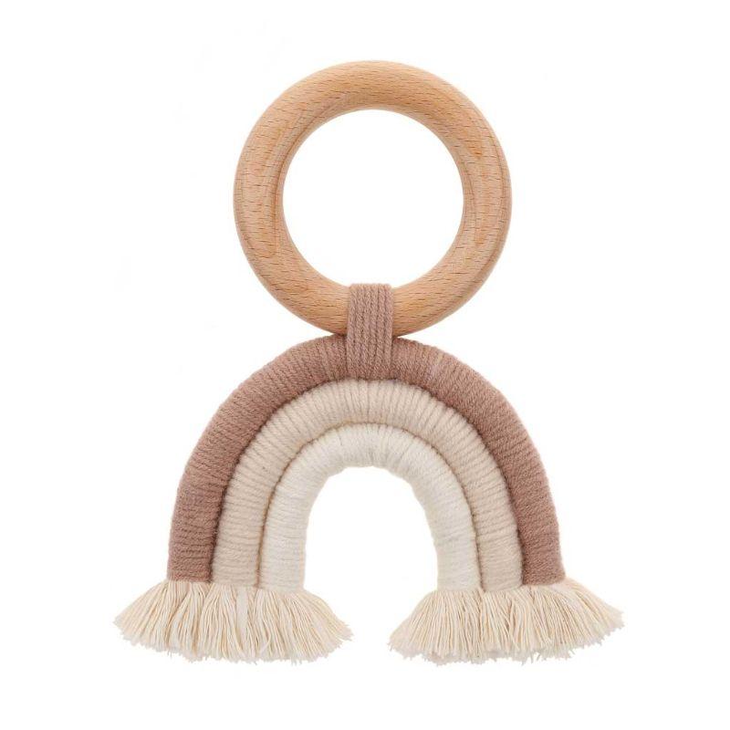 Baby Teething Ring Rainbow Tassel Macrame Wooden Boho Baby Teether Stroller Gift Decoration Toys Shower Gift 72XC