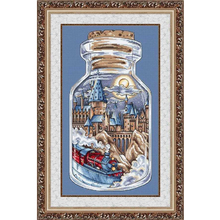 Gold Collection Lovely Counted Cross Stitch Kit City Train in a Bottle Jar Industrial Age Vintage Chic Bottles Jars Memory