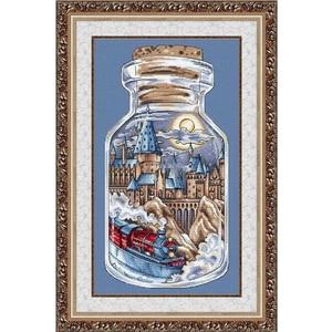 Image 1 - Oro Collezione Bella Contati Punto Croce Kit City Train in una Bottiglia Vaso Letà Industriale Vintage Chic Bottiglie Vasi di Memoria