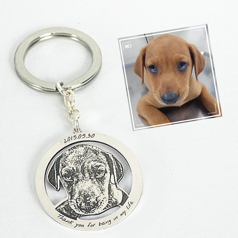 Personalized Photo Engraved Keychain(Hollowed Circle Frame)DOG