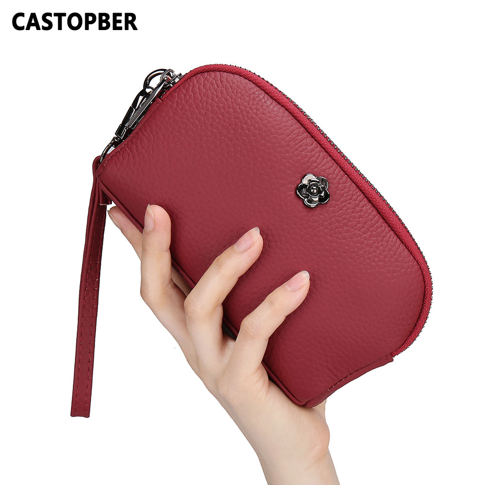 Women Day Clutches Shell Bag Small Cell Phone Purse Ladies Cowhide Genuine Leather 2 Zipper Bags High Quality Handbags Casual