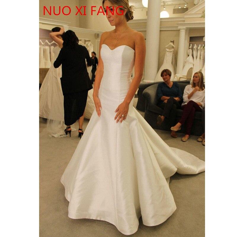 NUOXIFANG White Satin Simple Mermaid Wedding Dresses 2020 New Sweetheart Cheap Wedding Gowns Bridal Dresses vestidos de novia