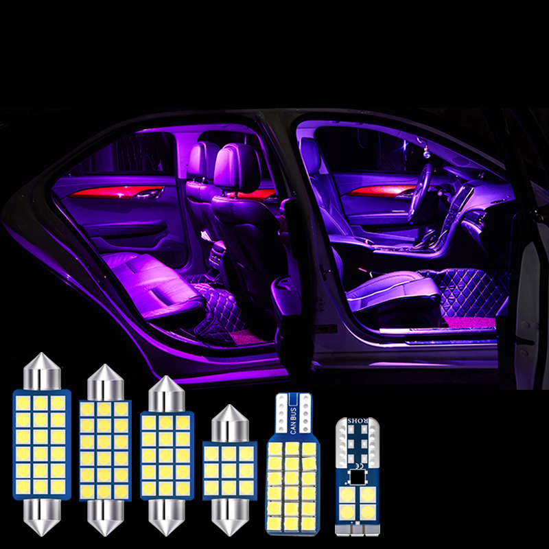 cheapest For Jeep Grand Cherokee WK2 2014 2015 2016 2017 6x Error Free LED Bulbs Car Interior Dome Reading Lamps Trunk Light Accessories