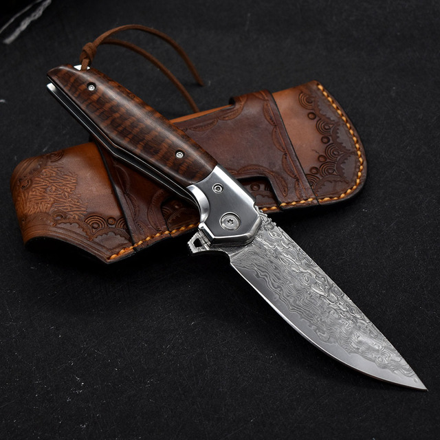 NEW Damascus VG10 steel folding knife High quality knife High hardness outdoor camp Into the Wild hunting knife rescue tool EDC 3