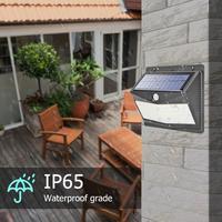 Işıklar ve Aydınlatma'ten Güneş Lambaları'de 100LED insan hareket indüksiyon duvar işıkları güneş enerjili işık su geçirmez güvenlik bahçe sokak asılı lambalar