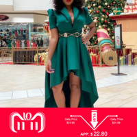 V Neck Asymmetric Short Sleeve High Low Dress Long Party Evening Dinner Vintage Women Green Big Plus Size 3XL Maxi Dress Female