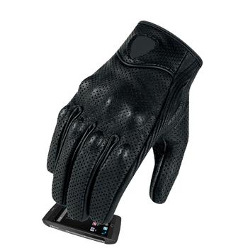 Gorące dorywczo rękawice motocyklowe skórzane oddychające rękawice wyścigi sprzęt ochronny męskie ciepłe rękawiczki rowerowe Motobike Gears czarne tanie i dobre opinie CAR-partment Z pełnym palcem Skóra Mężczyźni