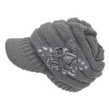 Новинка, модная женская вязаная шапка с блестками, мешковатая, теплая, вязаная крючком, женская вязаная шапка с козырьком, с цветочным акцентом, теплая, для улицы