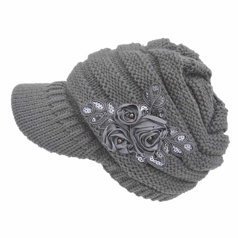 2019 News Fashion Sequin Women's knitted hat Baggy Warm Crochet Women's Cable Knit Visor Hat With Flower Accent Warm Outdoor