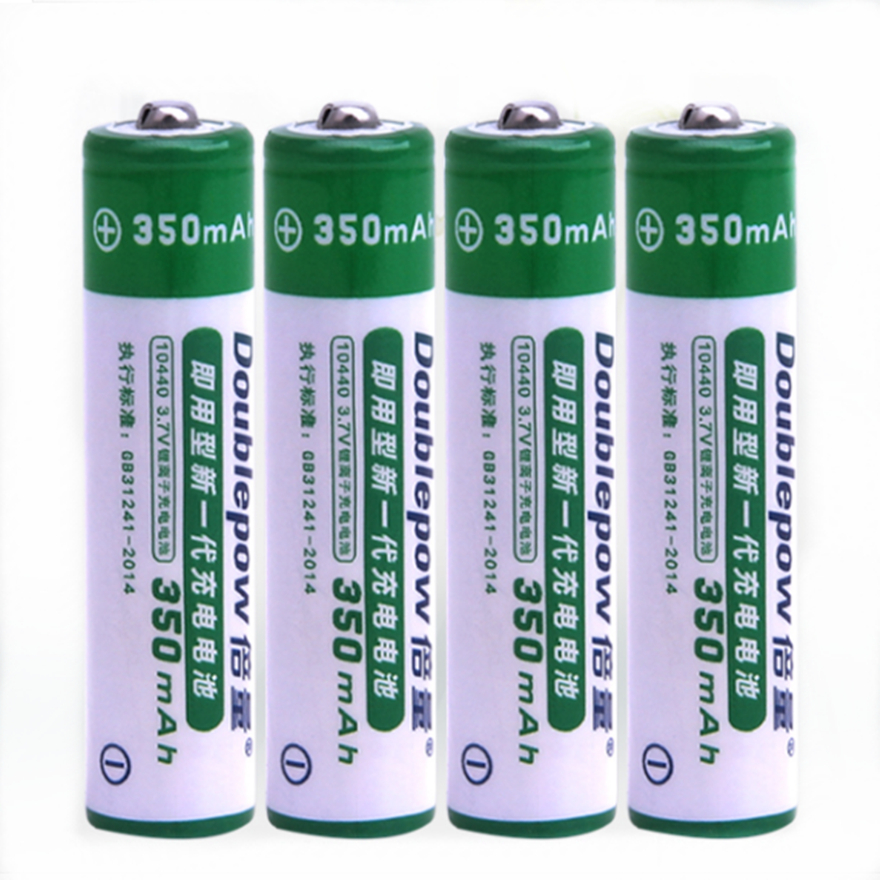 4pcs/lot Original 3.7v 350mAh AAA rechargeable battery 10440 lithium battery strong light flashlight rechargeable battery image