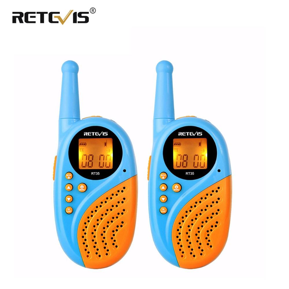 2pcs Mini Walkie Talkie Kids Children Radio Retevis RT35 0.5W 16CH PMR PMR446 Clock Rechargeable Walkie-Talkie Christmas Gift