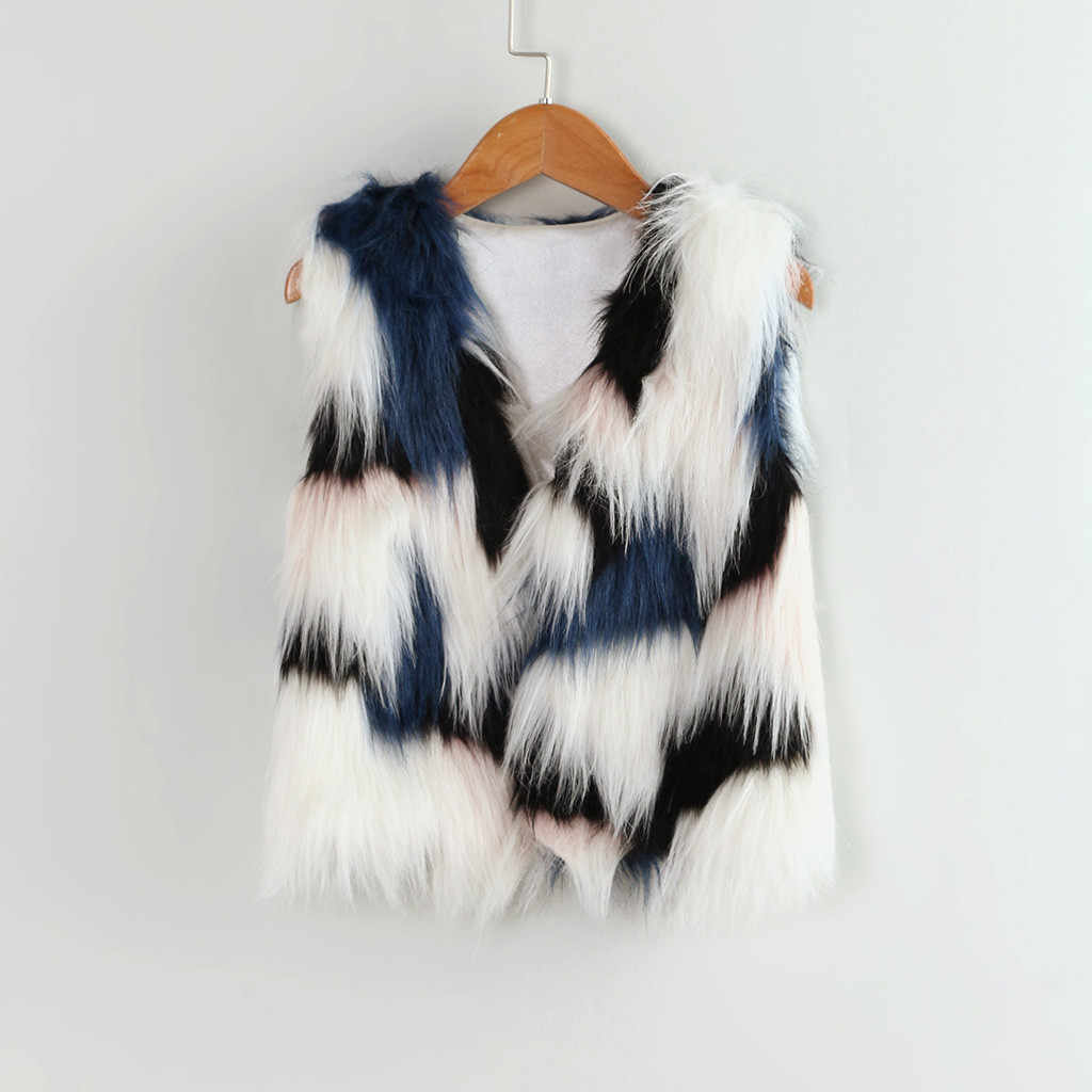 Toddler Kids Baby Girl Winter Warm Splice Faux Fur Thick Coat Children Winter sleeveless plush vest jacket Outwear Waistcoat