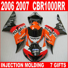 Hot sale for HONDA 06 07 CBR1000RR fairings glossy black white orange cbr 1000 rr 2006 2007 fairing IGB93