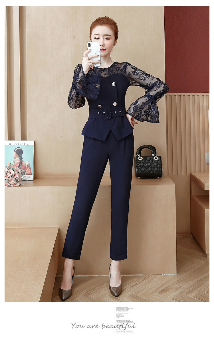 Blue Lace Office Two Piece Sets Outfits Women Plus Size Flare Sleeve Tops And Pants Suits Elegant Ladies Ol Style Korean Sets 38