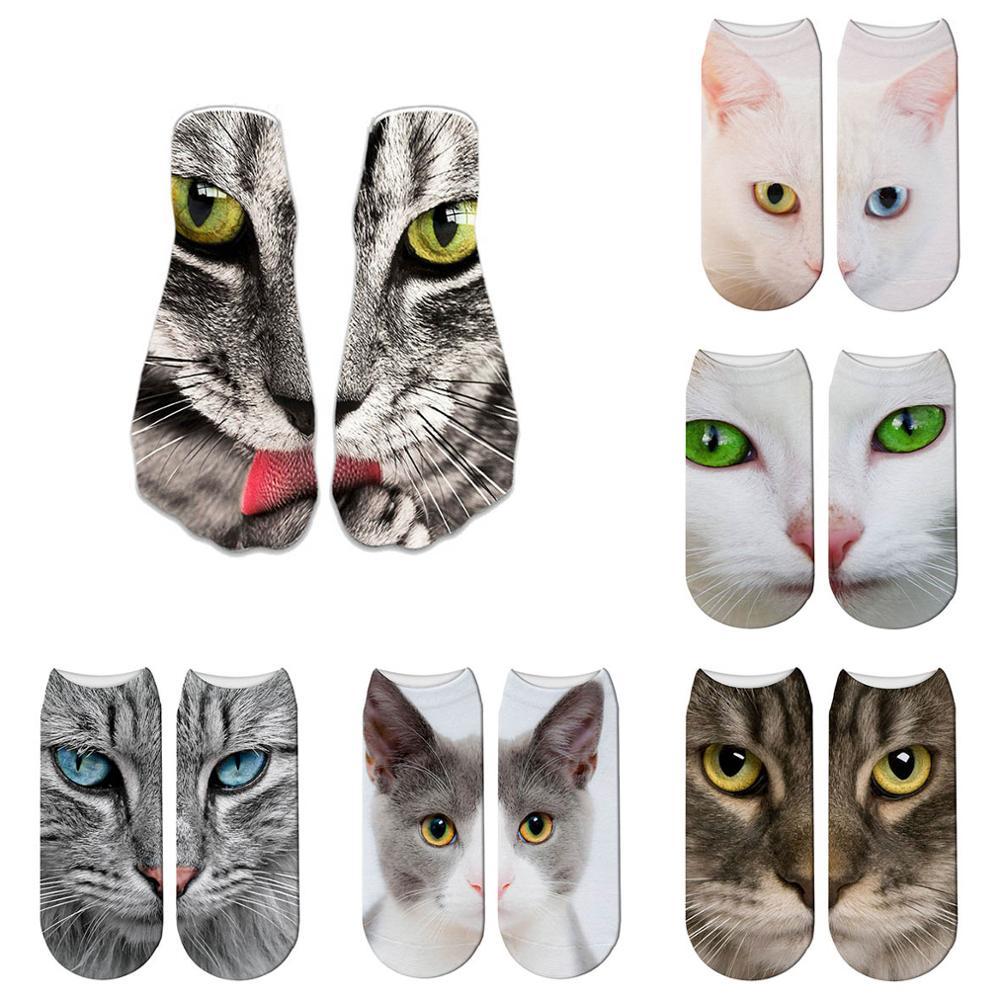 Fashion New Cat Cartoon Art Funny Socks Hot Sale 3d Printed Men&womens Socks Low Cut Ankle Short No Show Socks