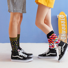 Korean fashion Harajuku street hip hop socks unisex funny men happy skateboard flame women