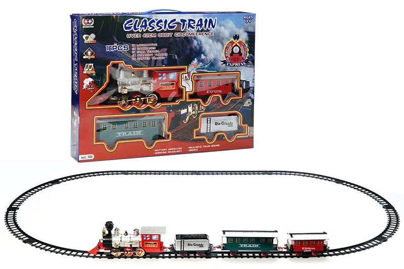 Electric Smoke Rail Train Model Model Light Music Classic Steam Train CHILDREN'S Toy Set