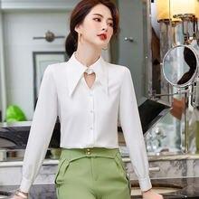 Осенняя Высококачественная однотонная женская рубашка элегантная