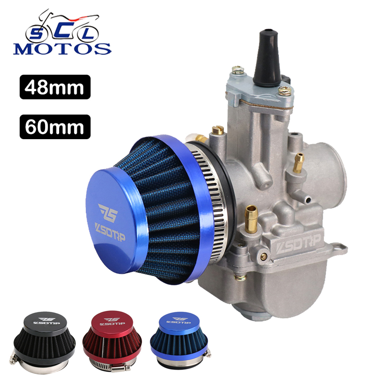 Sclmotos- <font><b>48mm</b></font> 60mm Motorcycle Carburetor <font><b>Air</b></font> <font><b>Filter</b></font> Clean for Dellorto SHA Carb Puch Moped 47cc 49cc 80cc Mini Pocket Dirt Bike image