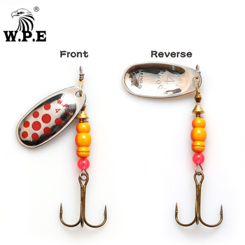 W.P.E Brand New Spinner Lure 2 pcs 3#/4#/5# Spoon lure Fishing Tackle Treble Hook Metal Hard Lure Fishing Bait Bass Fishing Lure fishing bait fish lure hook twist spoon crankbaits spinner accessory tool tackle 20 12