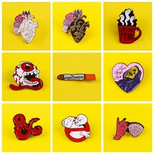 Punk Hiphop Metal Brooches on Clothes Badges For Backpack Jeans Lapel Pin Enamel Pins for T-Shirt Skull Cartoon Fun Jewelry Gift patchfan trump metal zinc enamel pins trendy medal insignia para backpack shirt clothes bag brooches badges for men women a1905
