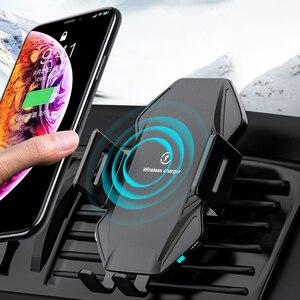 Qi Беспроводное Автомобильное зарядное устройство 10 Вт Быстрая зарядка для Samsung Galaxy A51 A71 A50 A70 A40s A30 A20e интеллектуальный инфракрасный Автомоби...